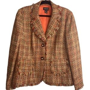 Fringe Tweed Jacket or Blazer Patch Pockets Size16